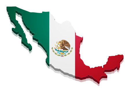 and south: detailed illustration of a map of Mexico with flag, eps10 vector