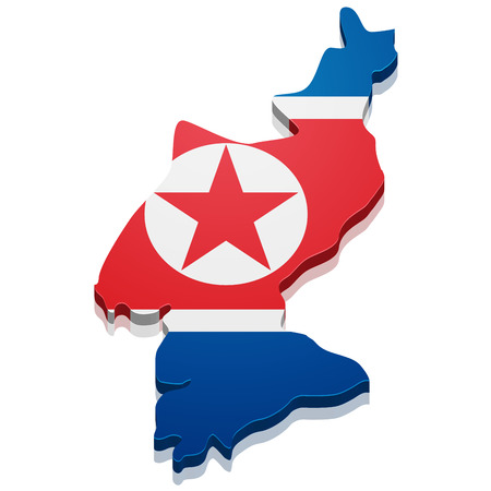 pyongyang: detailed illustration of a map of North Korea with flag,  Illustration
