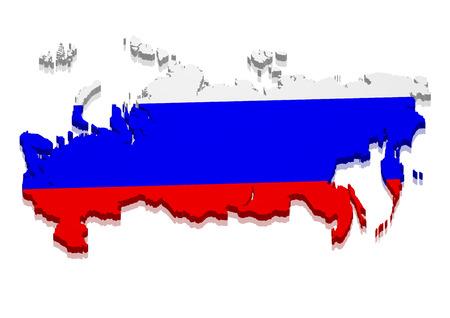 bandera rusia: ilustración detallada de un mapa de Rusia con la bandera, vector eps10