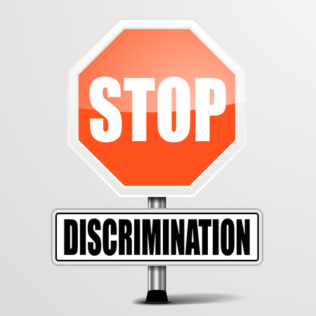 minority: detailed illustration of a red stop discrimination sign,  Illustration