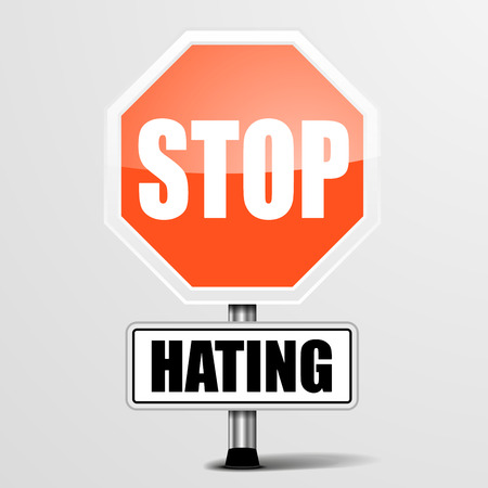 rejection: detailed illustration of a red stop Hating sign, Illustration