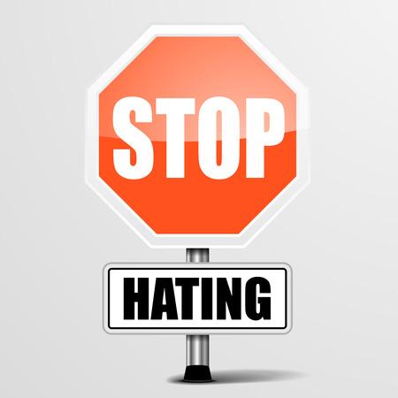 discriminate: detailed illustration of a red stop Hating sign, Illustration
