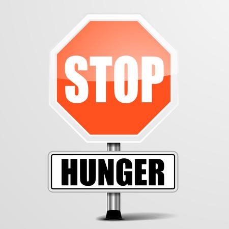 detailed illustration of a red stop Hunger sign,  Çizim