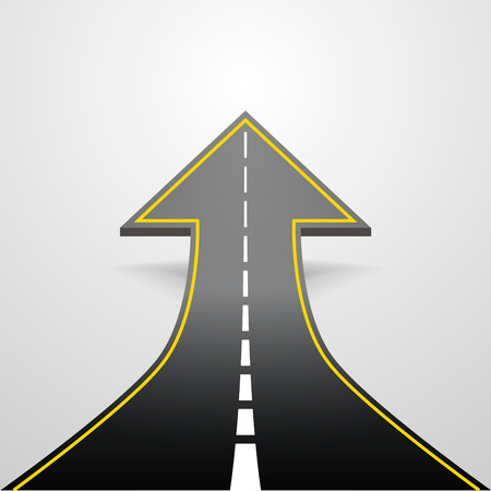 detailed illustration of a road going up as an arrow,  Ilustracja