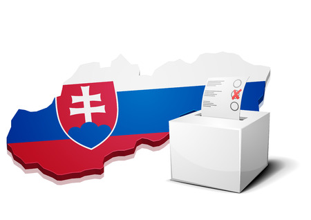 slovakia flag: detailed illustration of a ballot box in front of a map of Slovakia