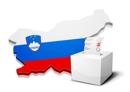 slovenia: detailed illustration of a ballotbox in front of a map of Slovenia, eps10 vector