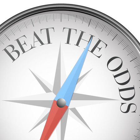 detailed illustration of a compass with beat the odds text