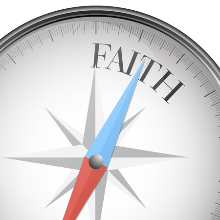 faith: detailed illustration of a compass with faith text Illustration