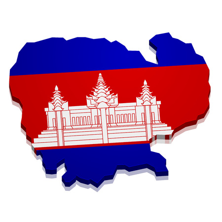 cambodian flag: detailed illustration of a map of Cambodia with flag, eps10 vector Illustration