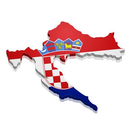 bandera de croacia: ilustración detallada de un mapa de Croacia con la bandera Vectores