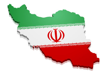 continental: detailed illustration of a map of Iran with flag