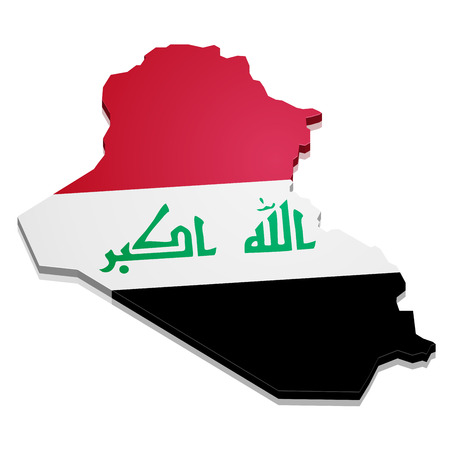 territories: detailed illustration of a map of Iraq with flag, eps10 vector Illustration