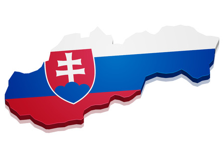 slovakian: detailed illustration of a map of Slovakia with flag