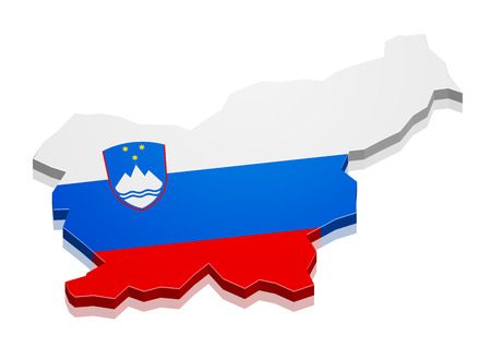 detailed illustration of a map of Slovenia with flag, eps10 vector Vector