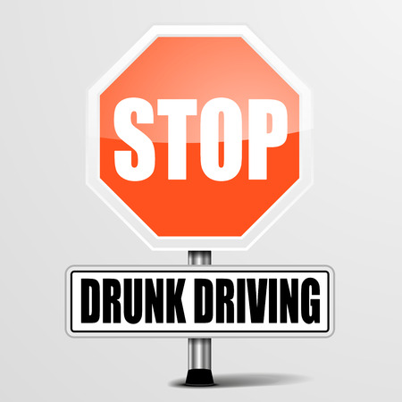 drunk driving: detailed illustration of a red stop drunk driving sign