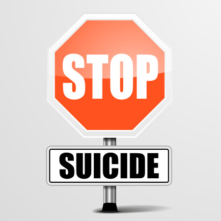 restrictions: detailed illustration of a red stop Suicide sign