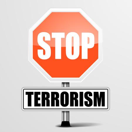 sabotage: detailed illustration of a red stop terrorism sign Illustration
