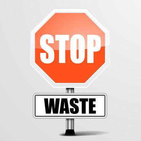 waste money: detailed illustration of a red stop waste sign, eps10 vector Illustration