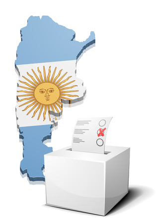 detailed illustration of a ballot box in front of a map of Argentina Vector