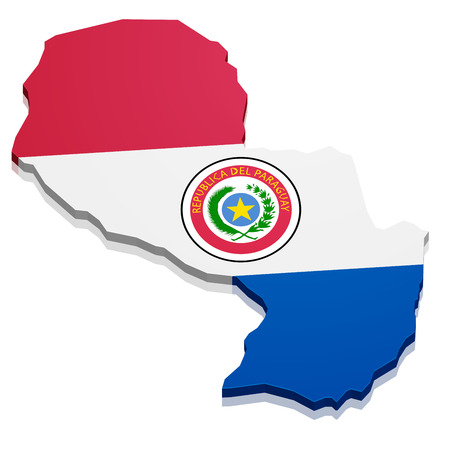 continental: detailed illustration of a map of Paraguay with flag