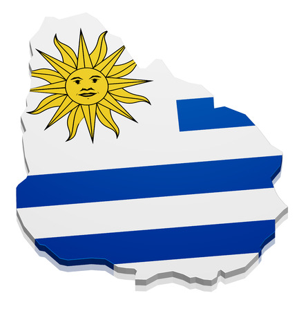 uruguay: detailed illustration of a map of Uruguay with flag