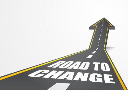 detailed illustration of a highway road going up as an arrow with Road To Change text