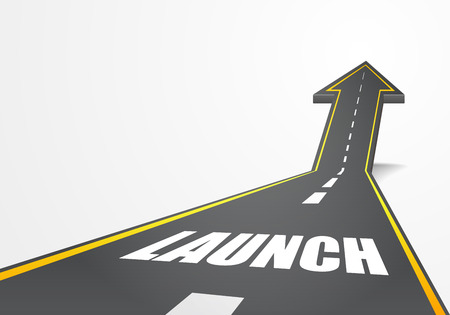 starting: detailed illustration of a highway road going up as an arrow with launch text