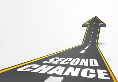 surpass: detailed illustration of a highway road going up as an arrow with Second Chance text Illustration