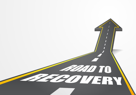 road to recovery: detailed illustration of a highway road going up as an arrow with Road To Recovery text