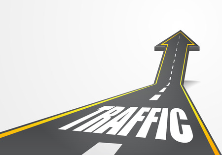 going up: detailed illustration of a highway road going up as an arrow with Traffic text