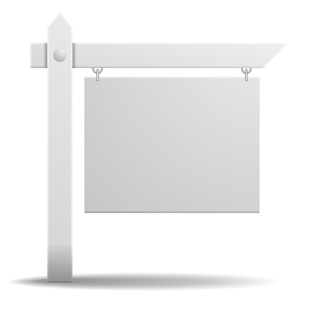 commercial sign: detailed illustration of a blank white real estate sign Illustration