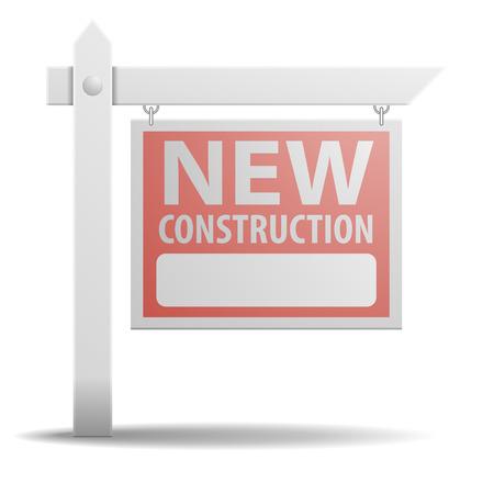 realestate: detailed illustration of a New Construction real estate sign Illustration