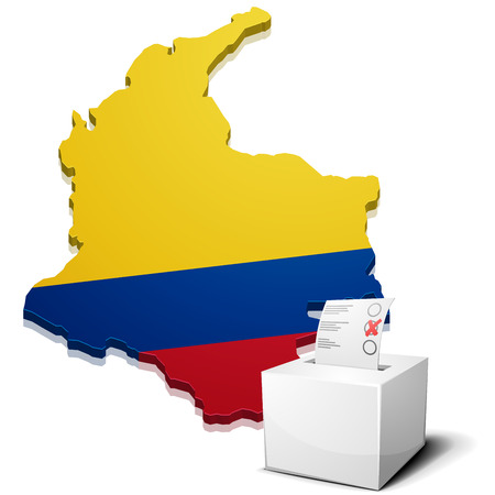 republic of colombia: detailed illustration of a ballotbox in front of a map of Colombia, eps10 vector Illustration