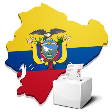 republic of ecuador: detailed illustration of a ballotbox in front of a map of Ecuador, eps10 vector