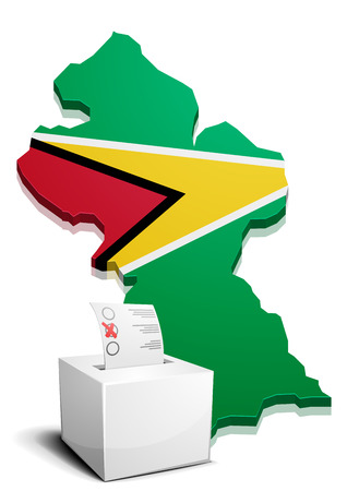 georgetown: detailed illustration of a ballotbox in front of a map of Guyana, eps10 vector Illustration