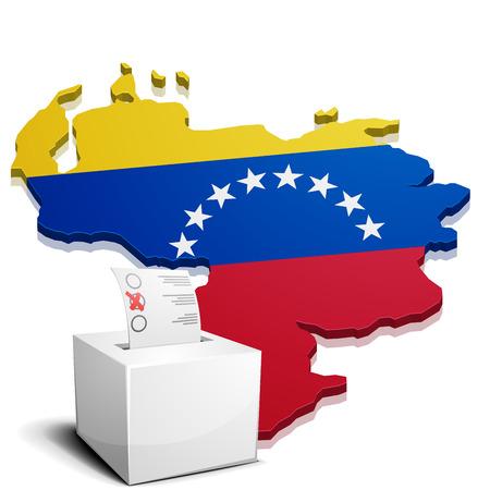 mapa de venezuela: ilustración detallada de una ballotbox frente a un mapa de Venezuela, vector eps10