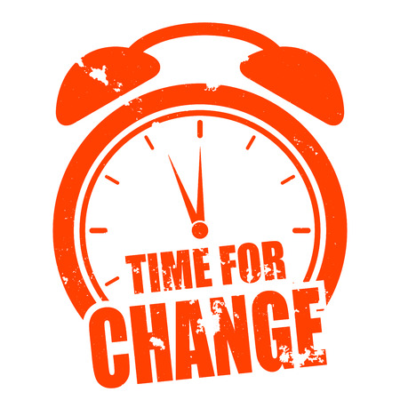business change: minimalistic illustration of a grungy clock with time for change text, eps10 vector