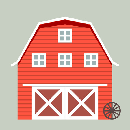 agricultural life: minimalistic illustration of a barn, eps10 vector