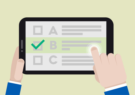 checklist: minimalistic illustration of hands holding a tablet computer with survey screen, eps10 vector