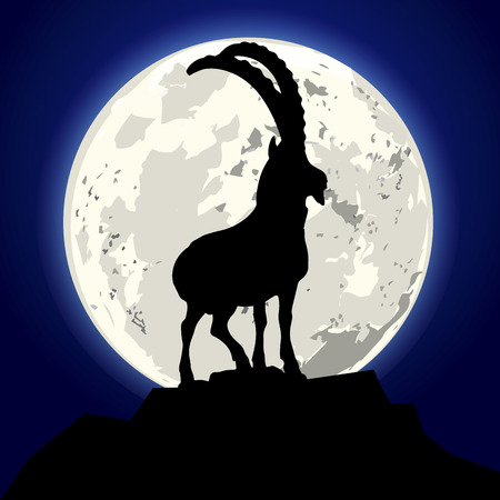mountain goats: detailed illustration of a goat in front of the moon, eps10 vector