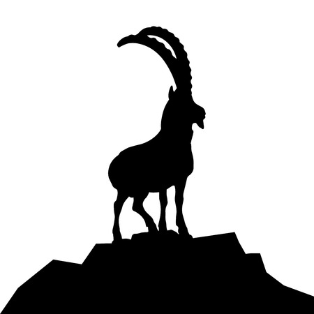 hilltop: detailed illustration of a goat silhouette on a mountain hilltop, eps10 vector