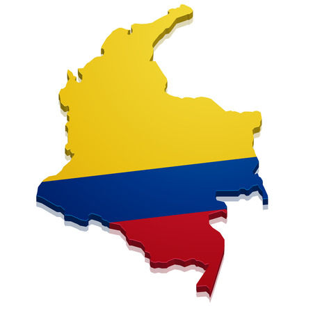 republic of colombia: detailed illustration of a map of Colombia with flag, eps10 vector