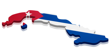 cuban flag: detailed illustration of a map of Cuba with flag, eps10 vector