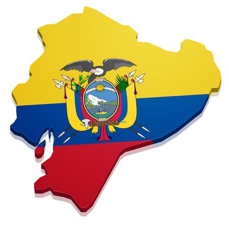 republic of ecuador: detailed illustration of a map of Ecuador with flag, eps10 vector