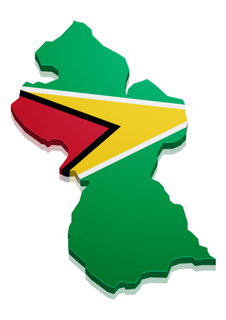 georgetown: detailed illustration of a map of Guyana with flag, eps10 vector Illustration