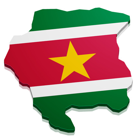 suriname: detailed illustration of a map of Suriname with flag, eps10 vector