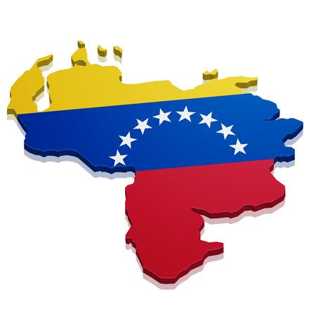 mapa de venezuela: ilustración detallada de un mapa de Venezuela con la bandera, vector eps10 Vectores