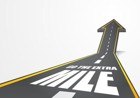 gedetailleerde illustratie van een snelweg weg omhoog gaat als een pijl met de extra mijl tekst, eps10 vector Stock Illustratie