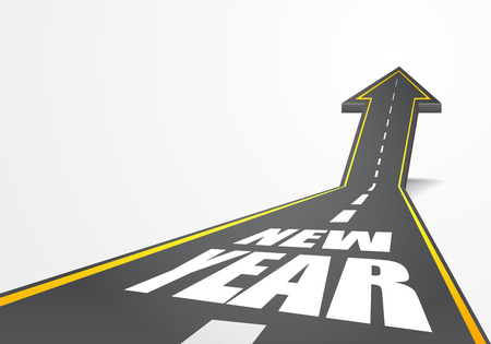 year increase: detailed illustration of a highway road going up as an arrow with new year text, eps10 vector