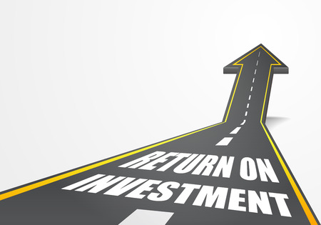 successful investment: detailed illustration of a highway road going up as an arrow with return on investment text, eps10 vector